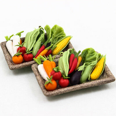 Set of Vegetable Ceramic Plate Miniature Dollhouse Clay Art Supply Craft A1372