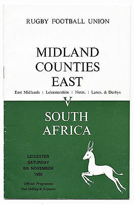 1969 - Midland Counties East v South Africa, Touring Match Programme.