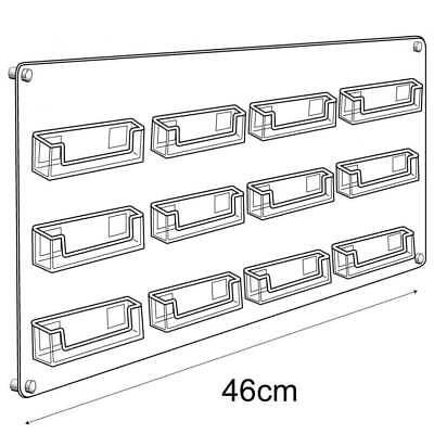 Acrylic 12 Business Cards Board Holder Wall Mounted Display Retail/Shop