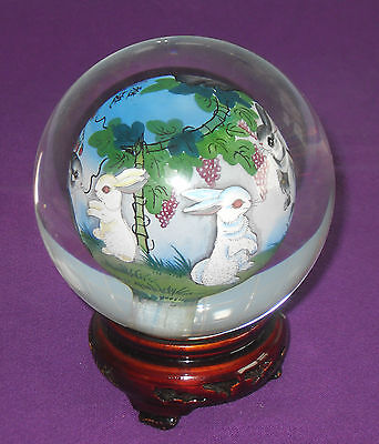 Amazing Vintage Signed Chinese Reverse Hand Painted Glass Shpere Ball On Stand