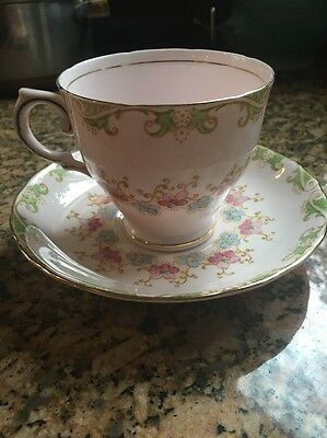 Tuscan Fine Bone China England Cup & Saucer Pink Background