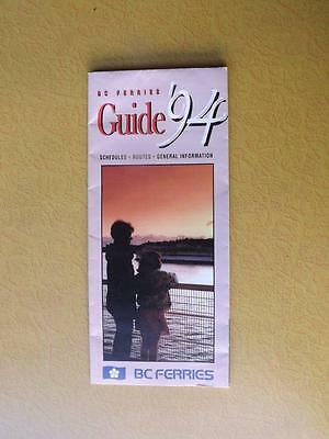 British Columbia Bc Ferries Guide 1994 Map Schedules Routes Information