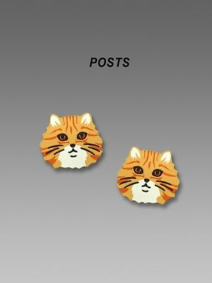 Orange Tabby Cat Post Earrings, Etched Brass - Hand Painted, cat fancier gifts