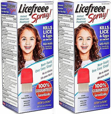 Licefreee Spray Homeopathic Head Lice Treatment w. Nit Comb NON TOXIC ( 2 pack )