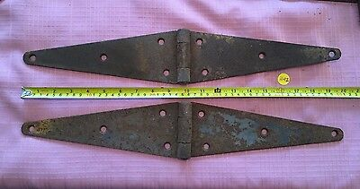Vintage Lot of 2 Barn Gate Strap Hinge Door Hardware Old Rustic Farm Find