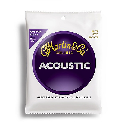 NEW Martin M175 Acoustic Guitar Strings 80/20 Bronze Custom Light  .011 - .052
