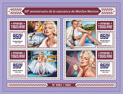 Togo 2016 MNH Marilyn Monroe 90th Anniv 4v M/S Movie Stars Celebrities Stamps