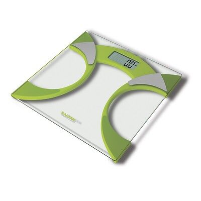 Salter 160kg Ultra Slim Glass Body Fat Bathroom Scales - Green 9141 GN3R NEW