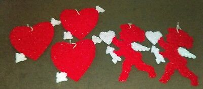 Vintage Collectible Popcorn Melted Plastic Valentine Cupid Style Decoration
