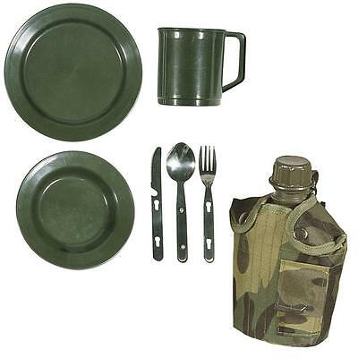 Plate Bowl Cup Knife Fork Spoon Water Bottle & Cutlery Set Fishing Camping Hunt