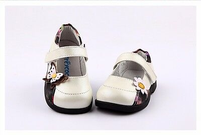 Freycoo Genuine Leather Kids Girls Shoes SZS: 6 7 8 9 10 11 12 PB-8083WH CUTE!