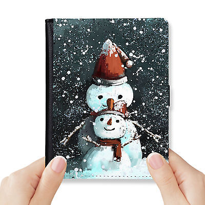 Snowy Day Genuine Leather Rfid Blocking Passport Cover Wallet Organizer