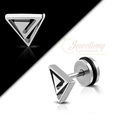 G-1.2mm | Stainless Steel Triangle Faux Fake Taper Ear Plug BR014