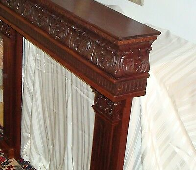 mahogany wood carved fireplace mantel surrounding home furnite decor antique art