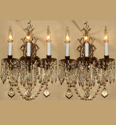 Pair 3LT Vintage Gilt gilt Bronze Brass Crystal lamp Sconces ROCOCO French Stle