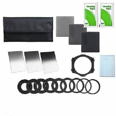 Set 9 Full Graduated ND Filter+52 58 77mm Adapter Ring Holder+ 3Cleaning Cloths