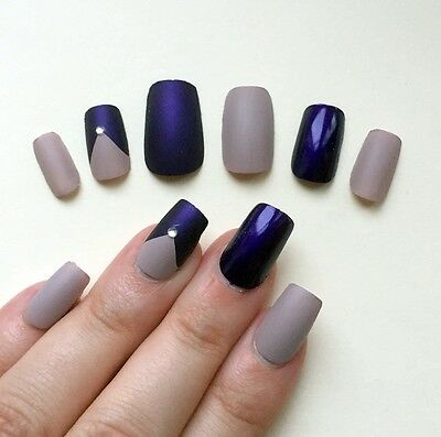 Hand Painted False Nails. Square Short Full Cover. Vanilla Nude & Purple. UK