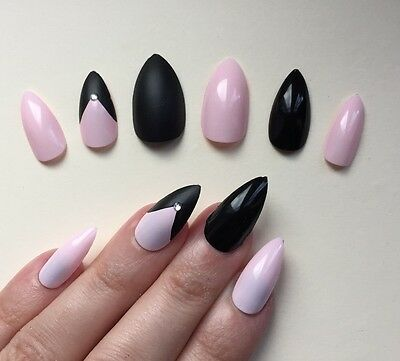 Hand Painted False Nails STILETTO Full Cover. Black & Baby Pink. NEW COLOUR. UK