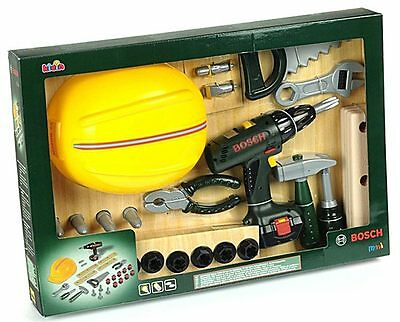 Bosch Tools Set with Drill Kids Toy Pretend Play Cordless Battery Powered Theo K