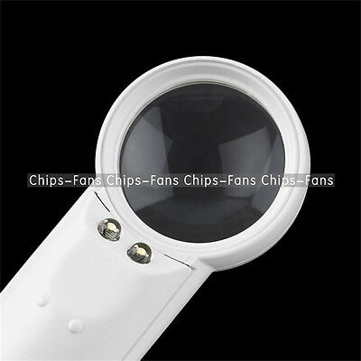 50mm Diameter 5x Multiple Hand Hold Magnifying Glass Loupe 2 LED Light Magnifier