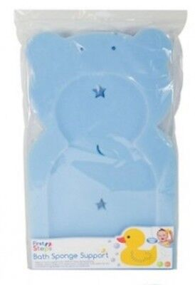 First Steps - BLUE Baby Bath Sponge Support - Teddy Shaped - BLUE - Baby Bathing