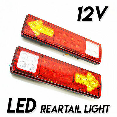 Set Of 2 Led Rear Tail Lights Van Bus Trailer Motorhome 12V