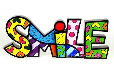 "ROMERO BRITTO - MIAMI POP ART - ""WORD - SMILE"" - Wordart Skulptur Size ""L"" NEU!!"
