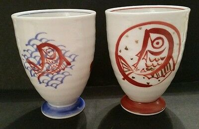 (2) Chinese footed pedestal Teacups ribbed hand-painted Fish Asian Koi Carp RARE
