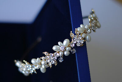 Bridal gold tiara hair accessories hand beaded wired pearl and crystal