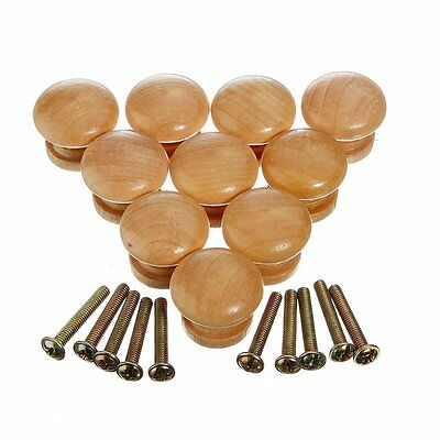 10pcs 25mm Natural Wood Wooden Cabinet Knob Drawer Wardrobe Door Pull Handle FP6