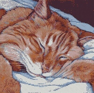 Cross Stitch Chart - Kit Ginger and White Tabby Cat