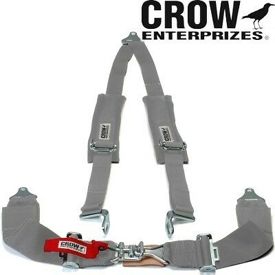 Crow Enterprizes Grey Seat Belt 3 Inch Lap 2 Inch Shoulders 3 Point With Pads