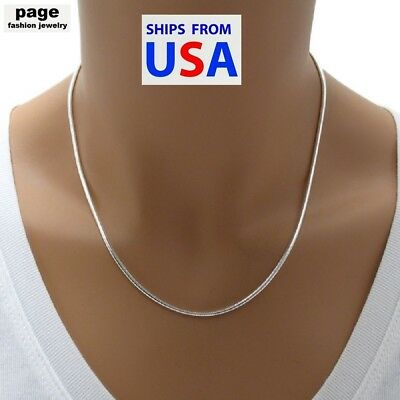 "USA Seller- 925 Sterling Silver 2mm Snake Chain 18"" 20"" 24"" Necklace Jewelry"