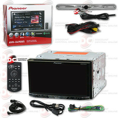 "Pioneer Car 2Din 7"" Lcd Dvd Cd Bluetooth Stereo Free Chrome License Plate Camera"