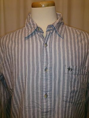 Levi Strauss Signature Mens Large Shirt Gray Striped Chest Pockets Long Sleeve
