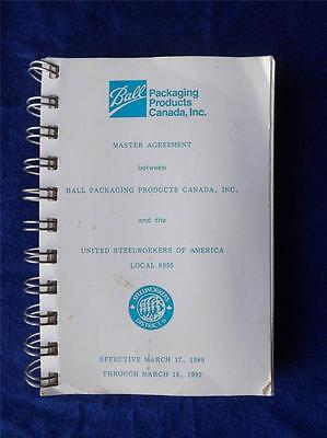 Ball Packaging Canada United Steel Workers America Unions Master Agreement 1992