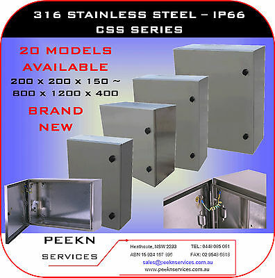 200W x 300H x 150D, IP66, 316 Stainless Steel Electrical Cabinet, Box CSS203015