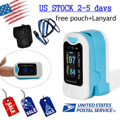 USA Shipping! Blood Oxygen Fingertip Pulse Rate SPO2 Monitor oximeter+battery