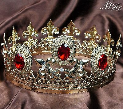 "Red Crystal Tiara Diadem 3.5"" Gold Imperial Medieval Crown Pageant Party Costume"