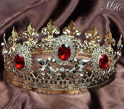 """Renaissance Simulated Ruby Tiara Diadem 3.5"""" Pageant Gold Imperial Crown Party"""