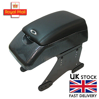 Carbon Armrest Centre Console Black Faux Leather Universal Car Van Padded
