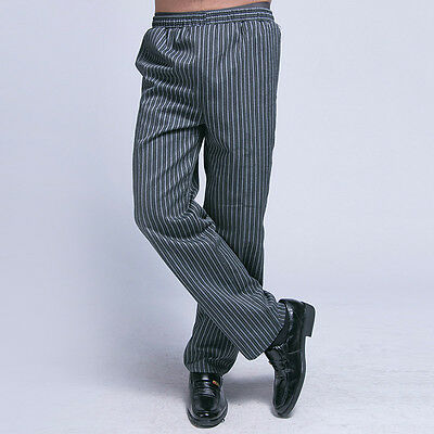 Chef Loose Trousers Kitchener Elastic Waist Striped Pants Comfy Working Uniform