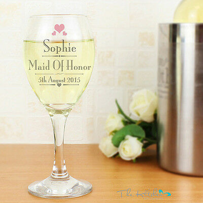 Personalised Wine Glass Bridesmaid, Maid of Honour Wedding Getting Married Gift