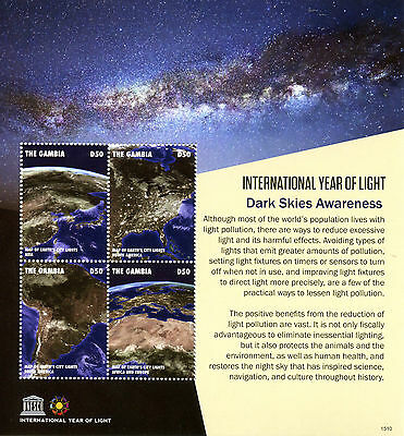Gambia 2015 MNH UNESCO Int Year of Light Dark Skies Awareness 4v M/S Stamps