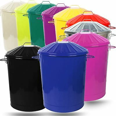 2 X 90L Colour Metal Dustbin House Garden Bin with Special Locking Lid
