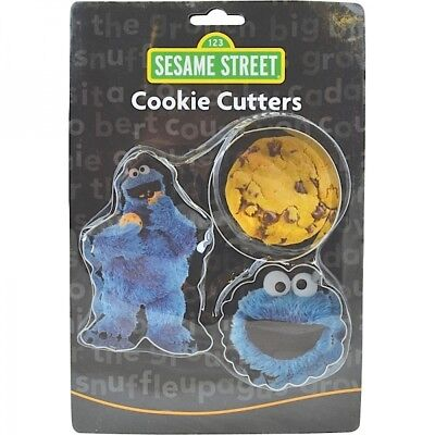 Set Of 3 Sesame Street Cookie Monster Cookie Cutters Shapes Aluminium Official