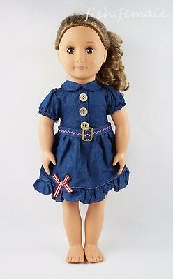 Fashion Denim Skirt Summer Dress Party Fit For 18'' American Girl Doll Clothes