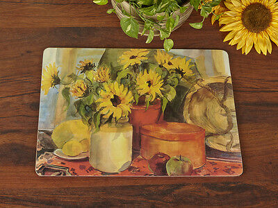 Set of 6 SUNFLOWERS Premium Cork-Backed PLACEMATS