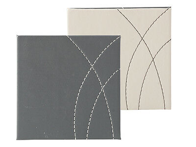 Set of 4 GREY Faux Leather REVERSIBLE COASTERS