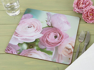 Set of 4 PHOTOGRAPHIC ROSE Premium Cork-Backed SQUARE PLACEMATS